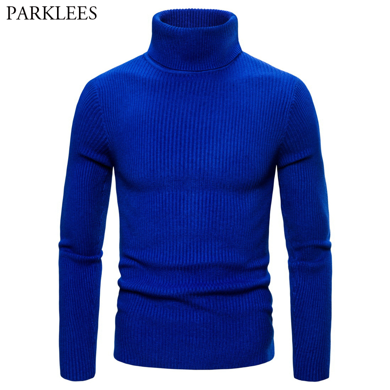 Royal Blue Turtleneck Sweater Men 2019 Autumn Winter High Neck Thick Warm Sweaters Mens Double Collar Slim Fit Sueter Hombre