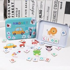 Image 4 - 60 desen hayvanlar büyü alfabe bulmacalar manyetik yapboz öğrenme ingilizce oyuncak ahşap çocuk bulmaca oyuncak seti çocuk eğitim oyuncak