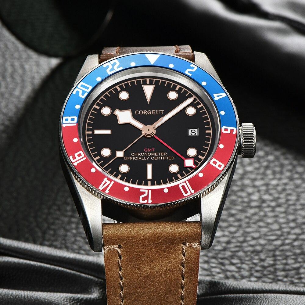 Corgeut di Lusso di Marca Schwarz Bay GMT orologio Da Uomo Meccanico Automatico Della Vigilanza di Sport Militare di Nuotata In Pelle Orologio Meccanico Orologi Da Polso - 3