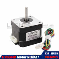 Free shipping and Quality 17HS3401-S 4-lead Nema 17 Stepper Motor 42 motor 42BYGH 1.3A CE ROSH ISO CNC Laser and 3D printer