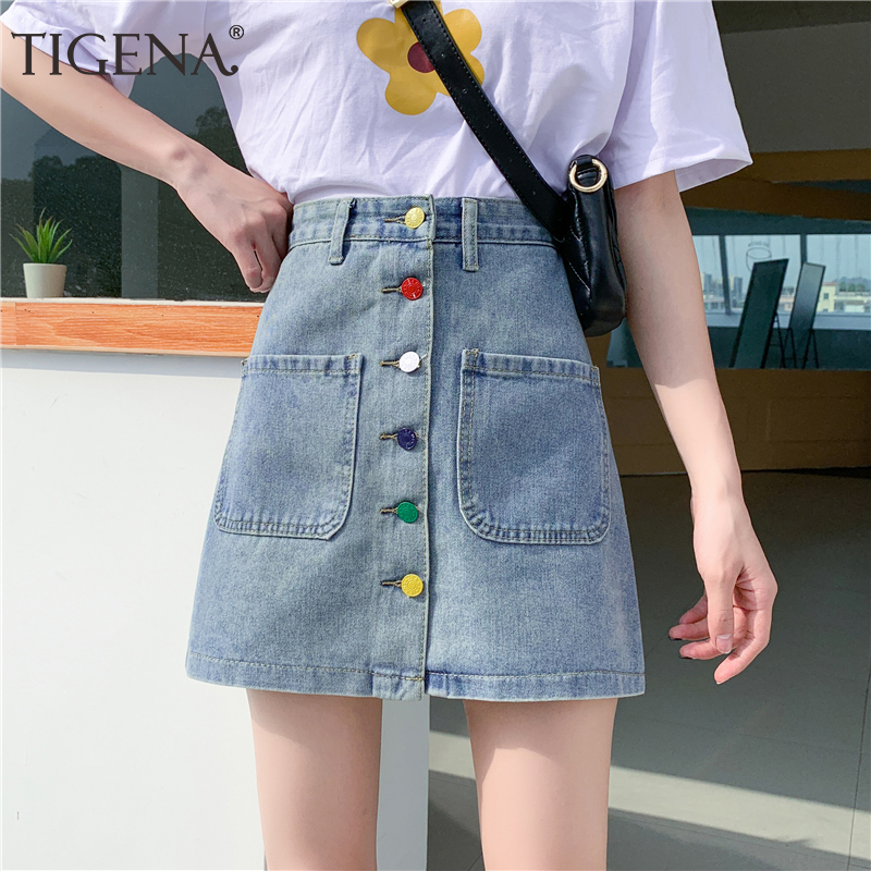 TIGENA Plus Size 5XL Cute Denim Skirt Women Fashion 2020 Summer Color Buttons Casual A Line High Waist Jeans Mini Skirt Female
