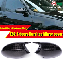 For BMW E92 2Door Hard Top Mirror Cover Add on Style M3 Look 100% Real Vacuumed Dry Carbon Fiber CF 1:1 Replacement Mirror 06-09 real sociedad villarreal cf