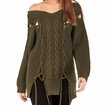 2020 Autumn Knitted Sweater Sexy Women's Amy green black Sweater Women's Hollow Out With Tassel Solid Color Slash Neck Pullovers ask amy green wedding belles
