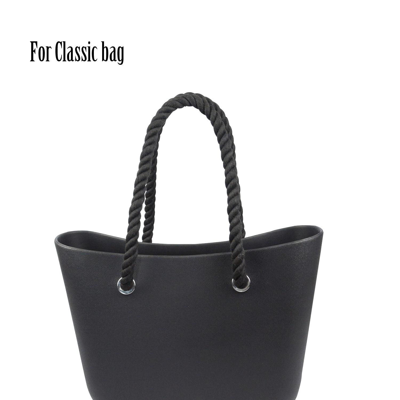 Clearance SaleTanqu Hemp-Rope-Handle Handbag Obag Classic Black Natural Mini Long-Short Women New