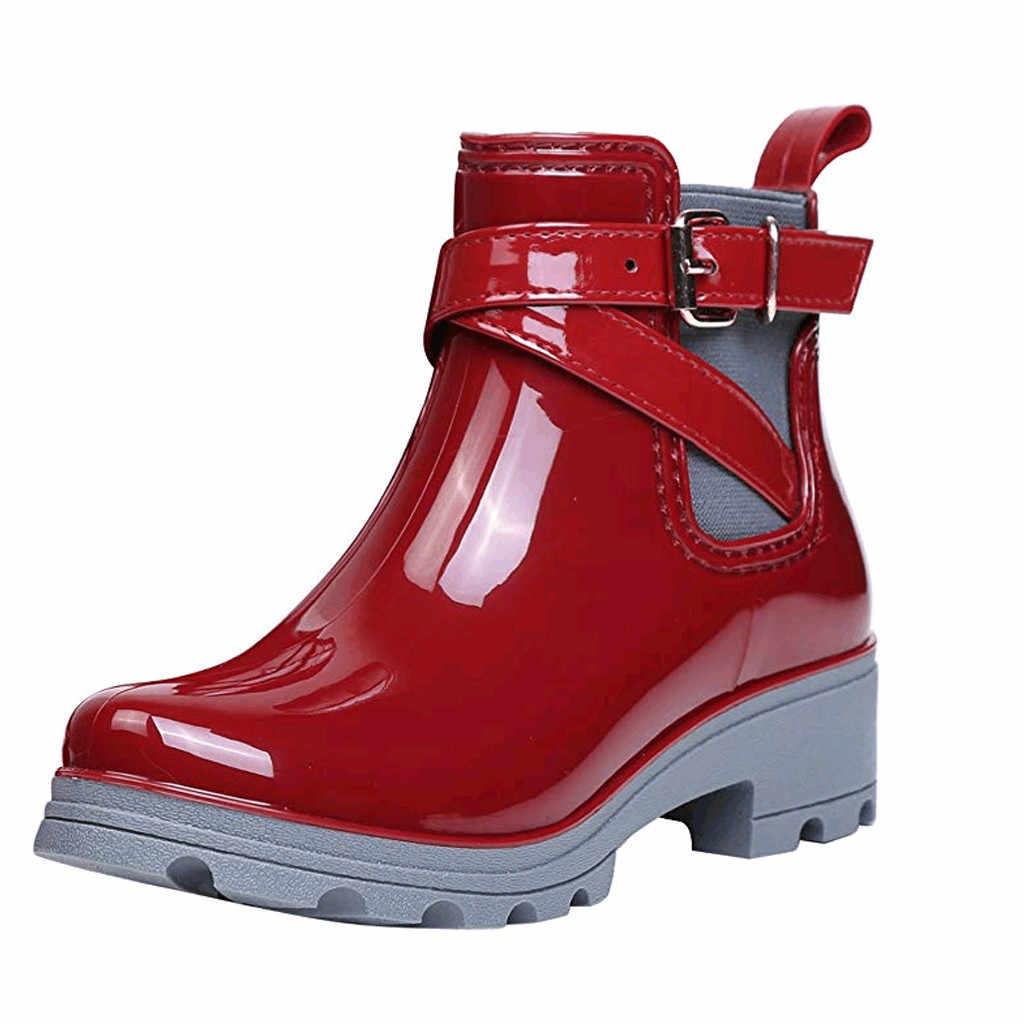 Nieuwe Regen Laarzen Warm Gesp Platform Slip On Non-Slip Waterdichte Motorfiets Bowtie Enkel Flat Met Vrouw Elastische Band water Schoenen