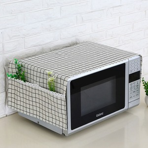Simple Linen Fashion Microwave Oven Dustproof Cover With Pockets Cloth Microwaves Protector Covers Cubiertas Protectoras