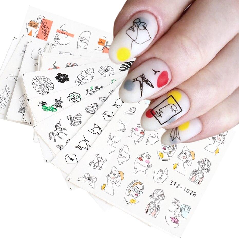 16 adet çıkartmalar çivi için soyut resim kadın yüz su kaydırıcılar manikür Nail Art süslemeleri oje Sticker seti LASTZ1018-1033