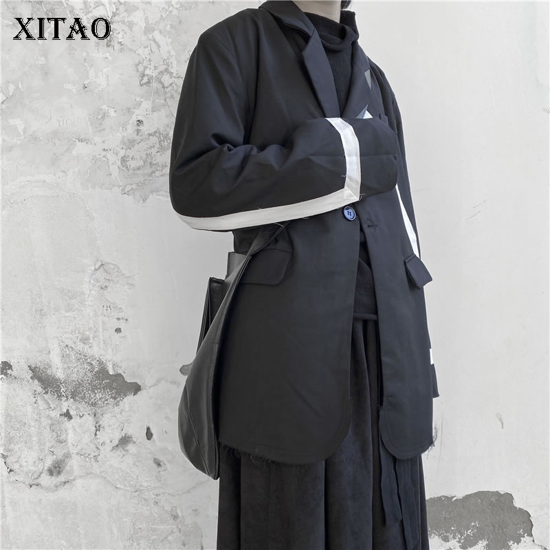 XITAO Black Pleated Blazer Fashion New 2019 Winter Pocket Single Button Notched Collar Minority Casual Loose Coat DMY1665