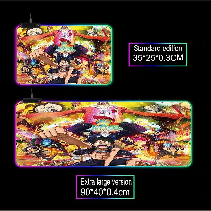 Купить mairuige аниме одна штука игра rgb черный коврик для мыши светодиодный