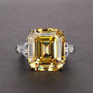 Image 2 - PANSYSEN יוקרה לדמות moissanite סיטרין גדול חן טבעות לנשים מוצק 925 כסף בסדר תכשיטי טבעת גודל 5 12
