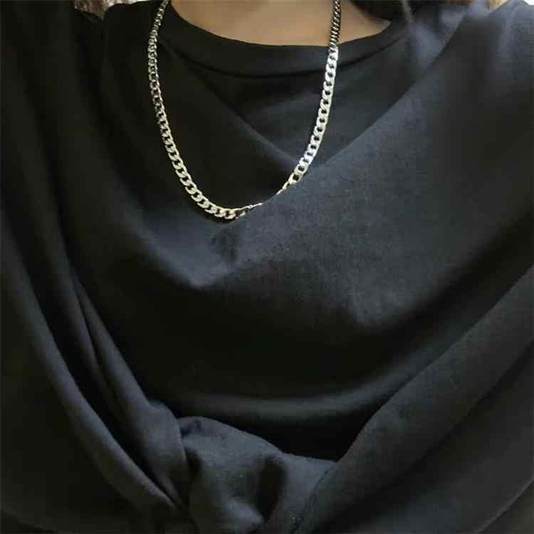 חדש פאנק Harajuku סגנון נירוסטה גבר שרשרת כסף שרשרת תליון אופנתי פשוט קולר לנשים מגניב תכשיטי מסיבת בחורים