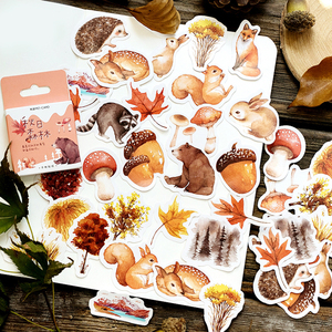 Journamm 46pcs Autumn Squirrel Forest Travel Diary Deco Stickers Child Gift Scrapbooking Kawaii Decorative Stationery Stickers