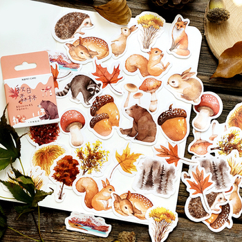 Journamm 46pcs Autumn Squirrel Forest Travel Diary Deco Stickers Child Gift Scrapbooking Kawaii Decorative Stationery Stickers 46pcs 1pack stationery stickers forest fruit animals diary planner decorative mobile stickers scrapbooking diy craft stickers