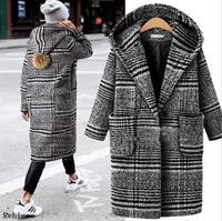 Women Woolen Coat Autumn Winter Cassic Simple Long Plaid Cardigan Coat Trenchcoat Wool Coat All Match Vintage Plus Size