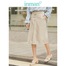 INMAN, invierno, cintura media alta, Beige, todo combinado, informal con cinturón, falda de mujer de línea a pequeña