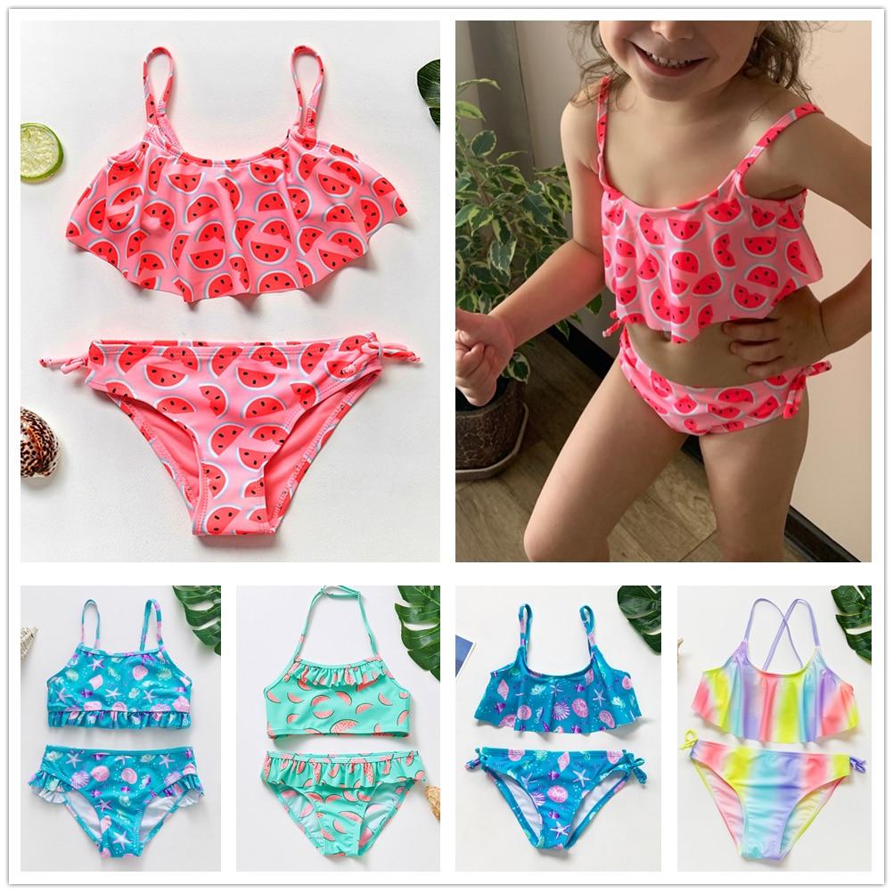 1~14Y Girls Swimsuit High quality Girls swimwear Two pieces Kids Bikini set Biquini Infantil Swimming suit for children-ST108mix 1