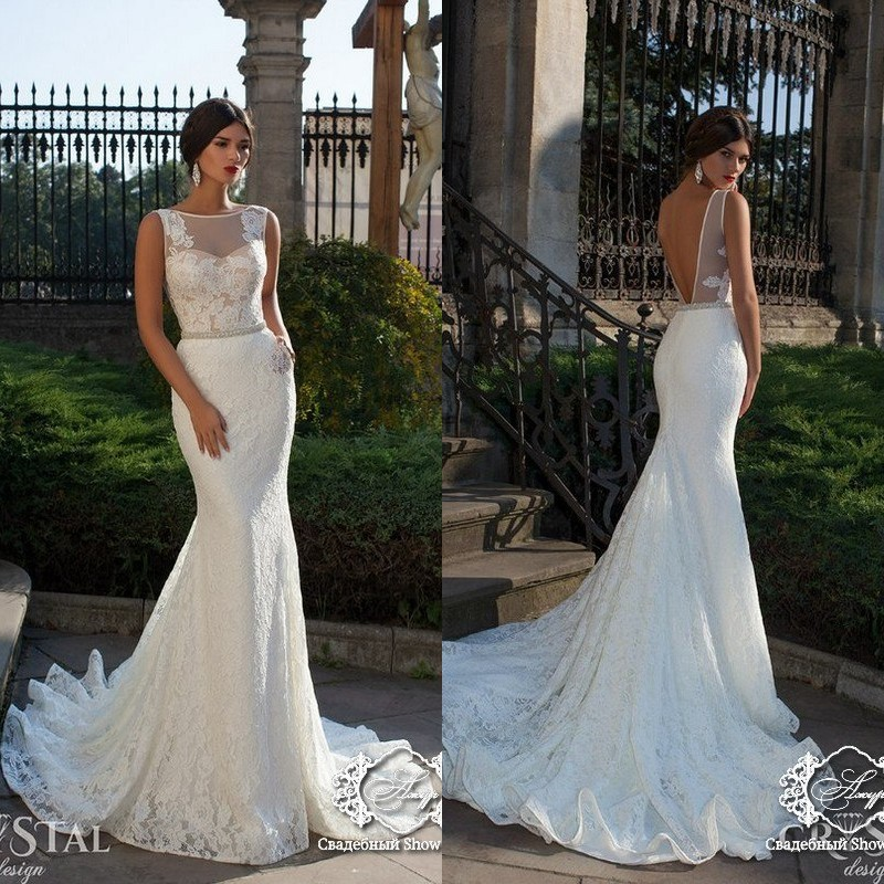2018 Vestido De Noiva Beautiful Mermaid Neck Floor Length Court Train Backless Lace Bridal Gown Mother Of The Bride Dresses