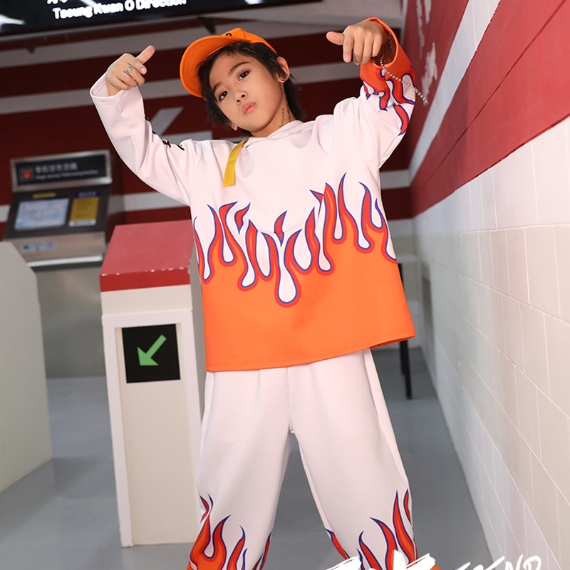 Street Dance Costumes For Kids Hip Hop Dance Long Sleeve Loose Suit Boys And Girls Jazz Dance Performance Stage Clothes DQL3156