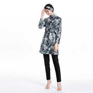Image 5 - Nouveau Burkini musulman imprimé haute élasticité maillot de bain Costume de plage pour les femmes islamique maillot de bain modeste maillots de bain natation Hijab
