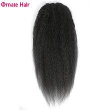 Человеческие волосы со шнурком для конского хвоста черных женщин
