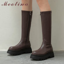 Meotina/высокие сапоги из натуральной кожи на плоской платформе;