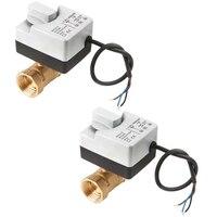 2 pces ac220v 2 way 3 fios motorizado válvula de esfera atuador elétrico com interruptor manual-dn25 & dn20