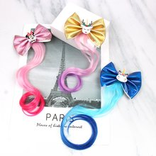 1 Pc Leather Unicorn Hairgrips Long Pigtails Wigs Hair Clip for Girls Shinly PVC Bows Barrettes Hairpins Fashion Headwear