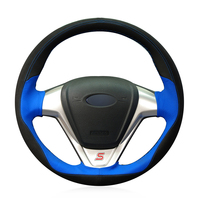 Hand stitched Black Suede Blue Leather Car Steering Wheel Cover for Ford Fiesta 2008 2017 EcoSport 2014 2017