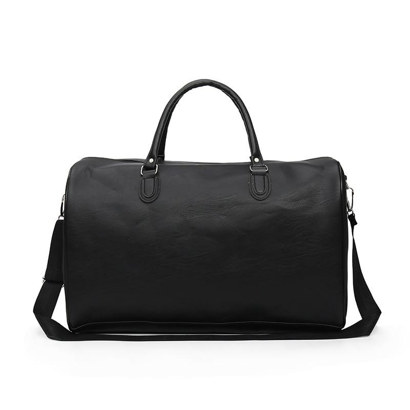 Ougger Large Luggage Bag Travel Crossbody Shoulder Bags For Men Black PU Vintage Fashion Large Capacity Bag For Business Trip