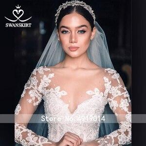 Image 4 - Vestido de boda de lujo 2020 Swanskirt con apliques de cuentas, Vestido de baile de talla grande, Vestido de novia de manga larga con flores, Vestido de novia QY01