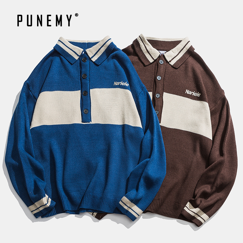 Men Pullover Sweaters Retro Polo Collar Breasted Acrylic Oversize Hip Hop Streetwear Harajuku Patchwork Pattern Men's Sweaters