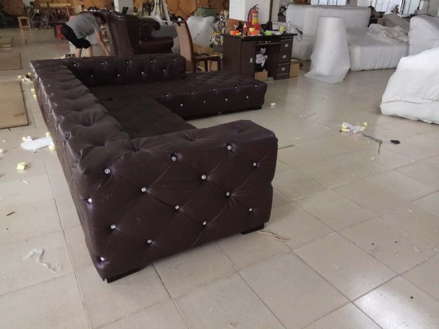 Leather Sectional Chesterfield L Shape Sofa w/ Crystal Buttons  5