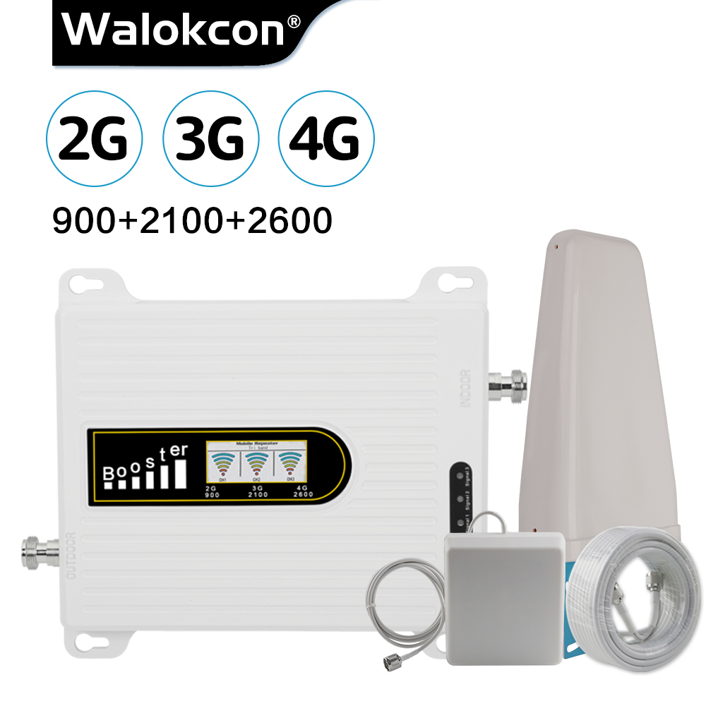 HOT 2G 3G 4G Tri Band Cellular Signal Booster GSM 900  3G WCDMA 2100 4G LTE 2600 MHz Cell Phone Signal Amplifier 70dB Repeater