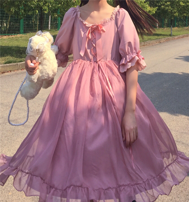 Kawaii Gothic Lolita Dress Women Victorian Medieval Vintage High Waist Bow Neck Princess Dress Ruffle Cute Girl Party Dress