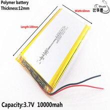 2 \ 3 \ 4 \ 6 pçs/lote bom qulity 3.7 v, 10000 mah, 1260100 polímero de iões de lítio/li ion bateria para brinquedo, banco de potência, gps,