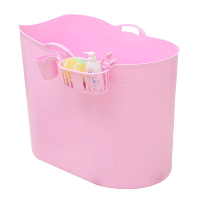 Épaissi dur en plastique adulte bain baril Extra grand bain baril enfants bain demi-pli baignoire baril de bain avec couvercle
