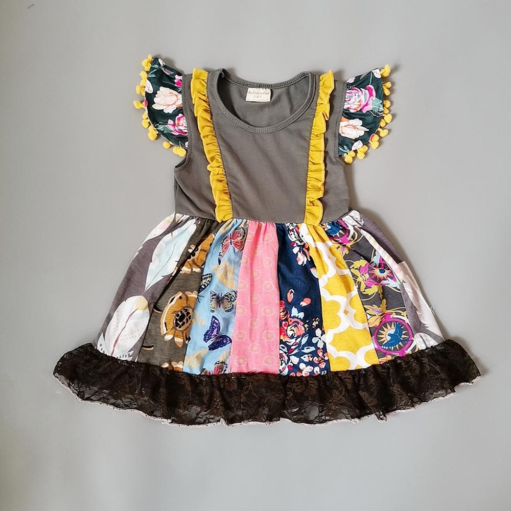 New Style 100% Cotton Summer Patchwork Grey Stripe And Ruffle Trim Baby Girls Lace Dress