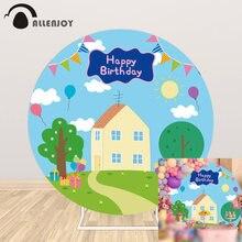 Allenjoy del maiale del fumetto di compleanno del partito rotondo sfondo Baby shower case decorazione bambino cerchio banner regalo sfondo photobooth