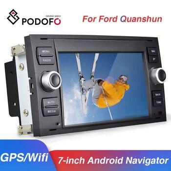 Reproductor Multimedia para coche Android 8,1 de Podofo, reproductor de DVD y Audio GPS con Radio de 7 pulgadas y 2 Din para Ford/Focus/s-max/Mondeo 9/Galaxy yc-max