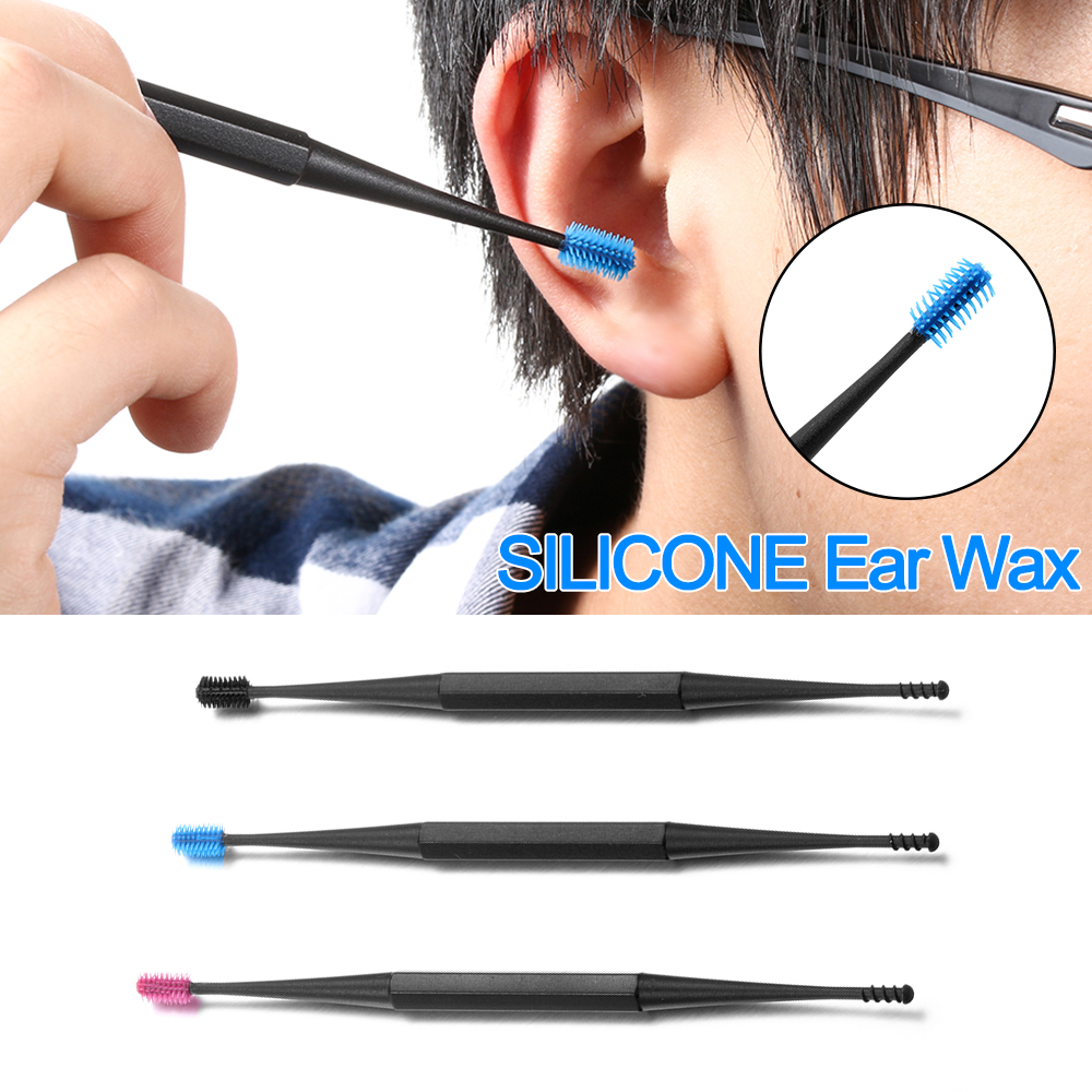 3 Colors Spiral Design Portable Ear Pick Soft Silicone Health Care Double-ended Wax Remover Cleaner Ear Cleaning Tool