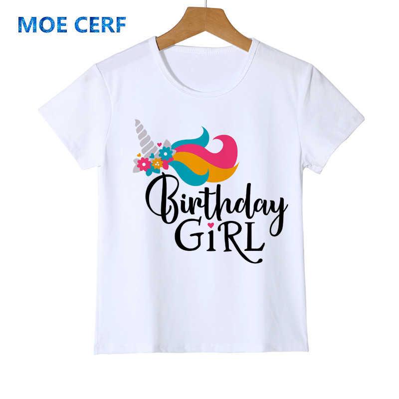 Kawaii Unicorn Happy Birthday Letter พิมพ์เสื้อยืดแฟชั่นสาววันเกิดการ์ตูนแขนสั้นน่ารักเสื้อยืด Y53-17