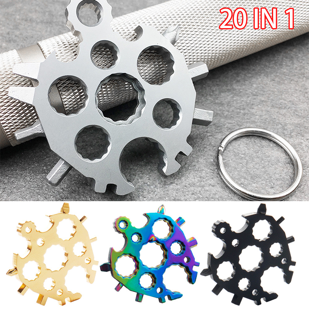 20 In 1 Stainless Steel Multifunctional Snowflake Wrench Screwdriver Wrench Key Chain Tool Snowflake Tool Card