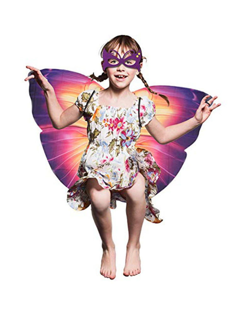 8 Piece Set Halloween Children Butterfly Cloak Fake Mask Combination for Boys Girls Dress Up Princess Pretend Play Party Favors