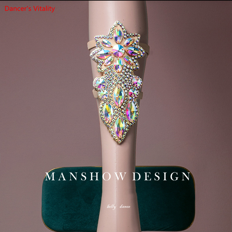 Women Belly Dance Performance Accessories New Full Diamond Flashing Foot Ornaments Leg Ring Performance Match Wild Jewelry