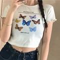 INS супер огонь бабочка Модная брендовая футболка с коротким рукавом для женщин, в Корейском стиле; Сезон лето Стиль Мода Harajuku BF студенческий ...