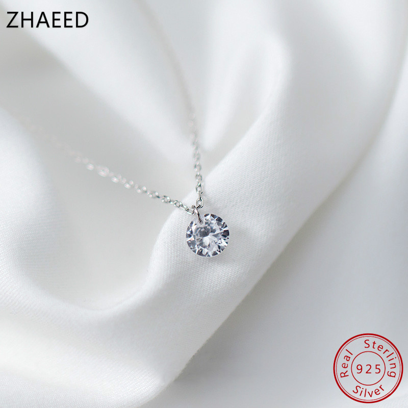 925 Sterling Silver Necklace Pendant Female Shining Small Crystal Zircon Necklace Simple Short Choker Pendant For Women Wedding