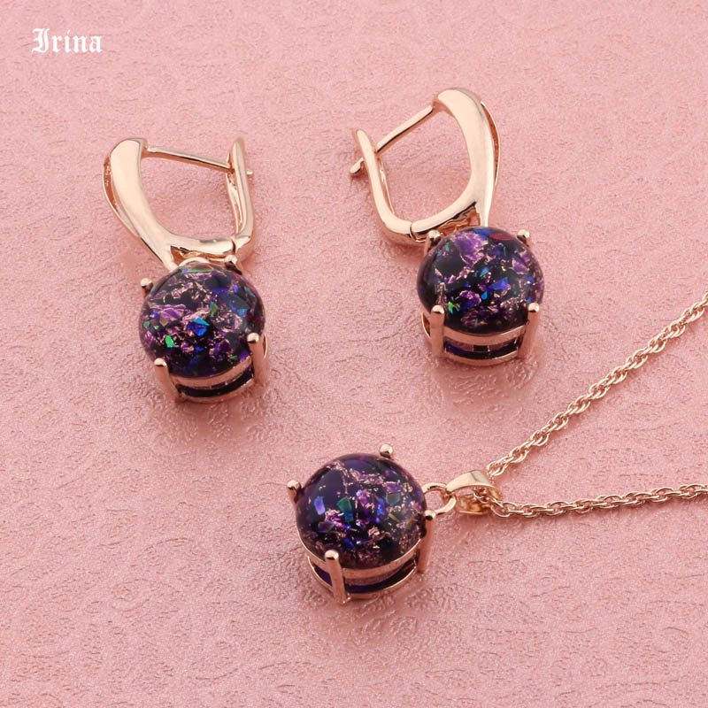 Unique Sparkly Round Circle 585 Rose Gold Color Stud Earrings Colorful Resin Stone Crystal Jewelry Sets Earrings For Women