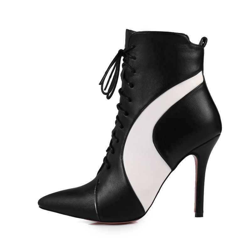 Mulheres de salto alto super mostrar palco stilettos retalhos rendas acima zip tornozelo botas couro do plutônio apontou toe zapatos mujer senhoras sapatos