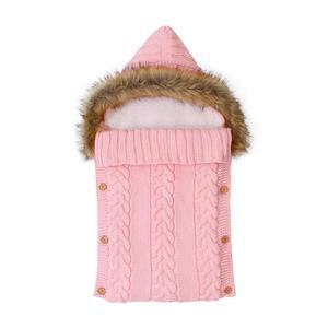 Image 2 - Baby Sleeping Bags Envelopes Swaddle Wrap Grey Hooded Newborns Girls Knitted Sleepsacks Winter Warm  Infantil Boys Stroller 0 6M