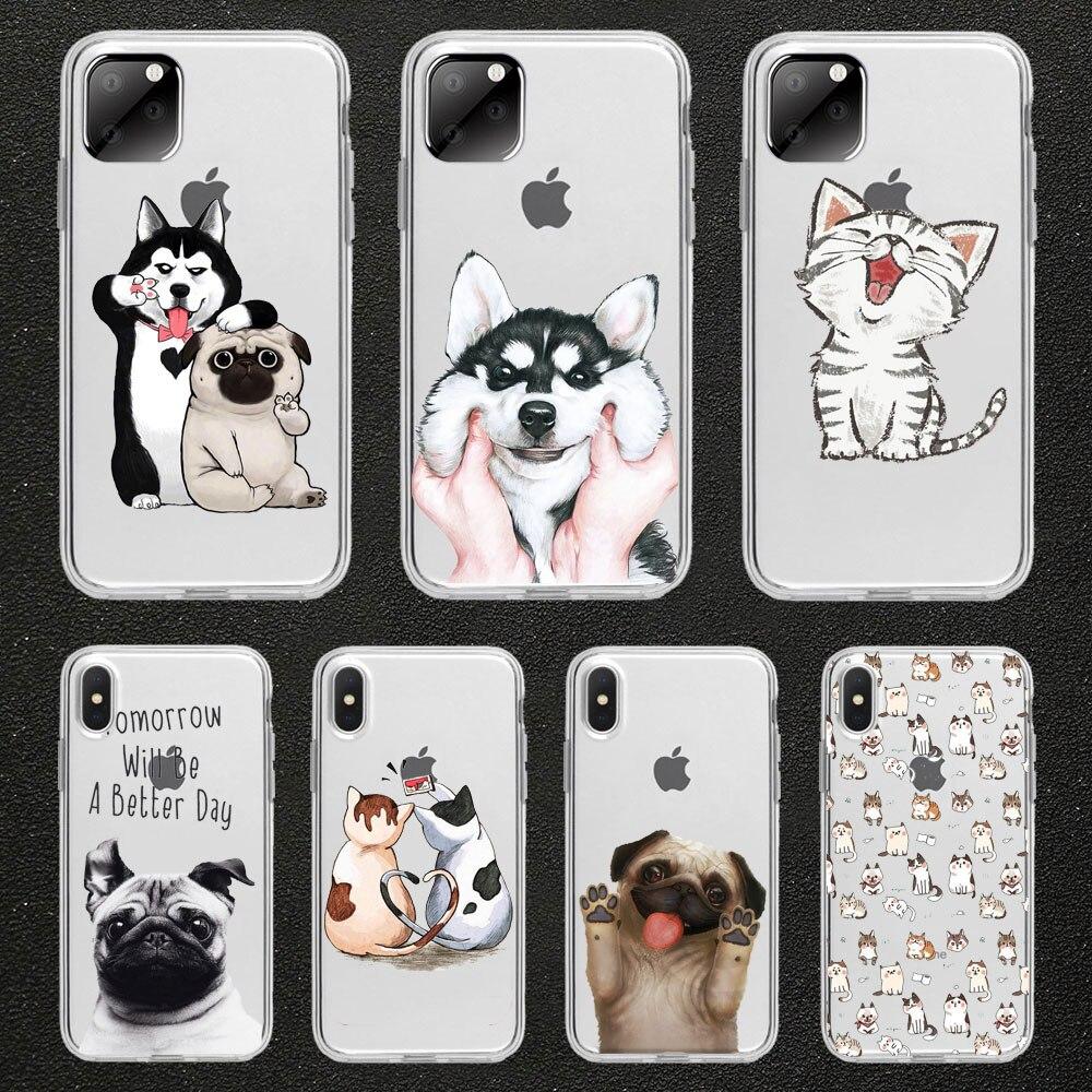 Drôle mignon chat chien coque de téléphone animal pour iPhone 11 pro max 5 SE 5s 4S 6 6S 8 7 Plus X XR XS MAX TPU coque en silicone Transparent